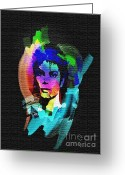 Man In The Moon Greeting Cards - Michael Jackson Greeting Card by Mo T