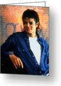 The King Greeting Cards - Michael Jackson Greeting Card by Plamen Petkov