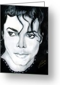 Michael Jackson Greeting Cards - Michael Jackson Portrait Greeting Card by Alban Dizdari