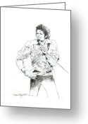 Celebrities Drawings Greeting Cards - Michael Jackson Royalty Greeting Card by David Lloyd Glover