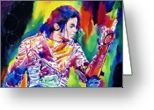 Music Legends Greeting Cards - Michael Jackson Showstopper Greeting Card by David Lloyd Glover