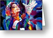 King Of Pop Greeting Cards - Michael Jackson Sings Greeting Card by David Lloyd Glover