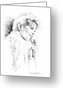 Michael Jackson Greeting Cards - Michael Jackson Song Greeting Card by David Lloyd Glover