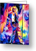 Jackson 5 Greeting Cards - Michael Jackson Sparkle Greeting Card by David Lloyd Glover