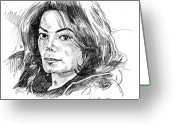 Michael Jackson Greeting Cards - Michael Jackson Thoughts Greeting Card by David Lloyd Glover