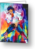Michael Jackson Greeting Cards - Michael Jackson Wind Greeting Card by David Lloyd Glover