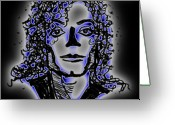 Michael Jackson Greeting Cards - Michael Jackson Without a Nose Greeting Card by Jessica Lynn Stuart
