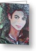 Michael Jackson Greeting Cards - Michael Greeting Card by Jan VonBokel