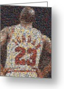 Nba Greeting Cards - Michael Jordan Card Mosaic 2 Greeting Card by Paul Van Scott