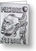 Flyers Drawings Greeting Cards - Michael Jordan Double Exposure Greeting Card by Rick Hill