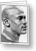 All Star Drawings Greeting Cards - Michael Jordan in 1990 Greeting Card by J McCombie