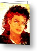 Michael Jackson Greeting Cards - Michael Greeting Card by Juan Jose Espinoza