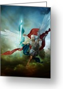 Angel Digital Art Greeting Cards - Michael Greeting Card by Karen Koski