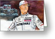 Espn Drawings Greeting Cards - Michael Schumacher Greeting Card by Dave Olsen