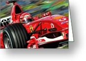 Red Car Greeting Cards - Michael Schumacher Ferrari Greeting Card by David Kyte