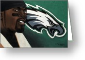 Illustrative Greeting Cards - Michael Vick Greeting Card by L Cooper