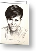 Michelle-obama Drawings Greeting Cards - Michelle Obama Greeting Card by A Karron