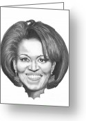Graphite Greeting Cards - Michelle Obama Greeting Card by Murphy Elliott