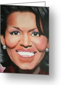 First African American First Lady Greeting Cards - Michelle Obama Greeting Card by Timothe Winstead