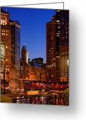 Michigan Avenue Greeting Cards - Michigan Avenue Bridge Greeting Card by Donald Schwartz