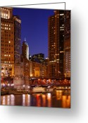 Michigan Avenue Greeting Cards - Michigan Avenue Bridge Reflections Greeting Card by Donald Schwartz