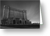 Abandon Digital Art Greeting Cards - Michigan Central Station At Midnight Greeting Card by Gordon Dean II