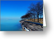 Winter Prints Greeting Cards - Michigan Lakeshore in Chicago Greeting Card by Mingqi Ge