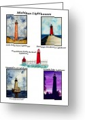 Michigan Drawings Greeting Cards - Michigan Lighthouses Collage Greeting Card by Michael Vigliotti
