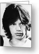 Men Greeting Cards - Mick Jagger (1943-) Greeting Card by Granger