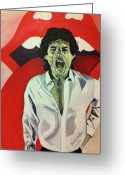 Rolling Stones Painting Greeting Cards - Mick Jagger Greeting Card by Carla Bank