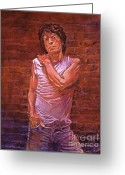 Rolling Stones Painting Greeting Cards - Mick Jagger Greeting Card by David Lloyd Glover