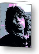 Rolling Stones Greeting Cards - Mick Jagger in London Greeting Card by David Lloyd Glover