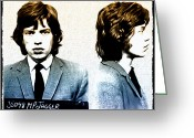 Mug Shot Greeting Cards - Mick Jagger Mugshot Greeting Card by Bill Cannon