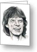 Famous People Drawings Greeting Cards - Mick Jagger Greeting Card by Murphy Elliott