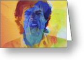 Rolling Stones Greeting Cards - Mick Jagger Greeting Card by Irina  March