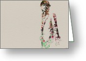 British  Greeting Cards - Mick Jagger watercolor Greeting Card by Irina  March