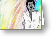 Rolling Stones Mixed Media Greeting Cards - Mick Greeting Card by Mary Morawska