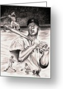 Mickey Mantle Drawings Greeting Cards - Mickey Mantle Greeting Card by Kathleen Kelly Thompson
