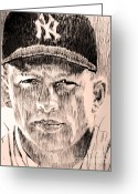 Mickey Mantle Drawings Greeting Cards - Mickey Mantle Greeting Card by Robbi  Musser