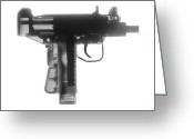 Firearms Photo Greeting Cards - Micro Uzi X Ray Photograph Greeting Card by Ray Gunz
