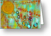 Debra Jacobson Greeting Cards - MicroCosmic- Race for the Sun Greeting Card by Debra Jacobson
