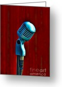 Curtain Greeting Cards - Microphone Greeting Card by Jill Battaglia