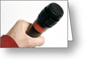 Karaoke Greeting Cards - Microphone Greeting Card by Johnny Greig