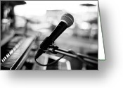 Arts Culture And Entertainment Greeting Cards - Microphone On Empty Stage Greeting Card by Image By Randymsantaana