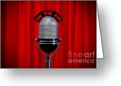 Award Greeting Cards - Microphone on stage with spotlight on red curtain Greeting Card by Richard Thomas