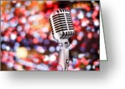 Karaoke Greeting Cards - Microphone Greeting Card by Setsiri Silapasuwanchai