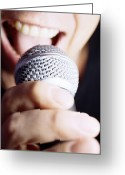 Karaoke Greeting Cards - Microphone Use Greeting Card by Lawrence Lawry