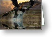 Wondrous Digital Art Greeting Cards - Microraptor Greeting Card by Corey Ford