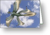 Early Drawings Greeting Cards - Microraptor Greeting Card by Spencer Sutton and Photo Researchers