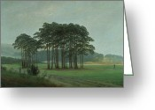 Romanticist Greeting Cards - Midday Greeting Card by Caspar David Friedrich